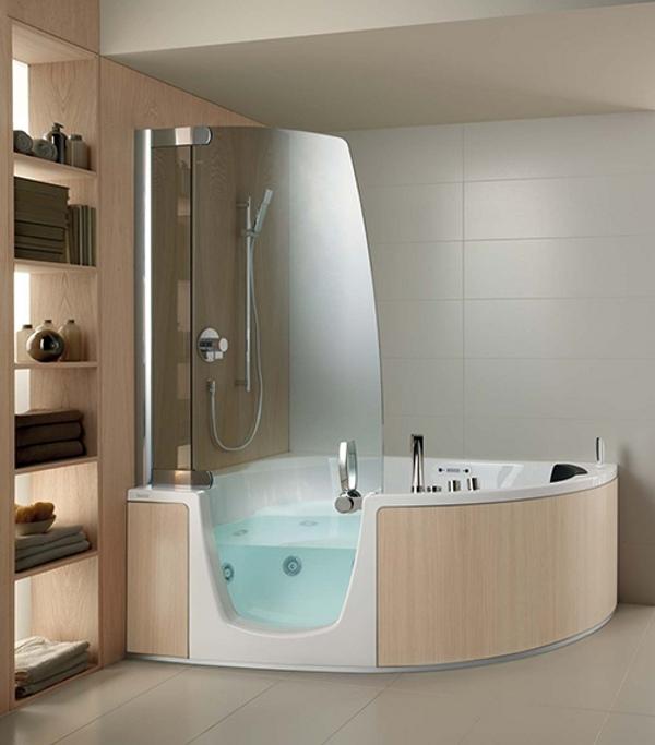 Acryl-Wanne-mit-integrierter-Dusche-Teuco-Eckmodell-Eichenholz-Verkleidung