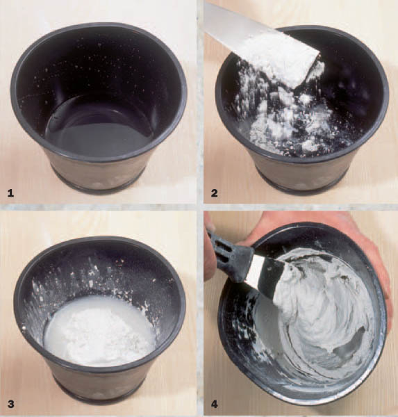 Vier Schritte zur klumpenfreien Gipsmasse