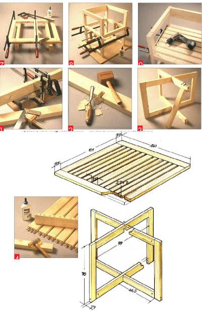 Gartentisch und Stühle im Set – Der Tisch: Überblattungen geben Halt